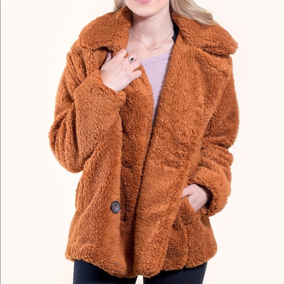 278673d3d369 FREE PEOPLE TEDDY PEACOAT RUST SIZE M